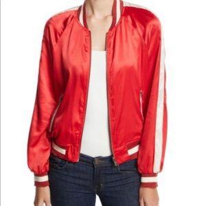 Pam & Gela Red Silk Satin Reversible Bomber Jacket